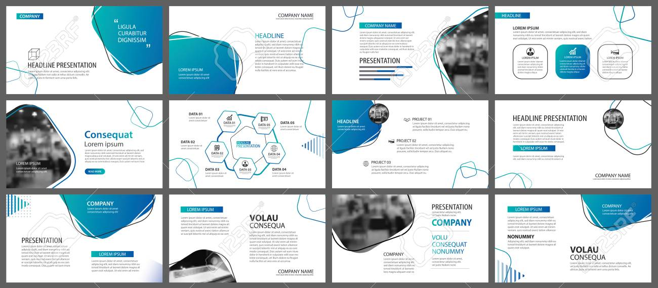 Presentation and slide layout background. Design blue and green gradient geometric template. Use for business annual report, flyer, marketing, leaflet, advertising, brochure, modern style. - 111071296