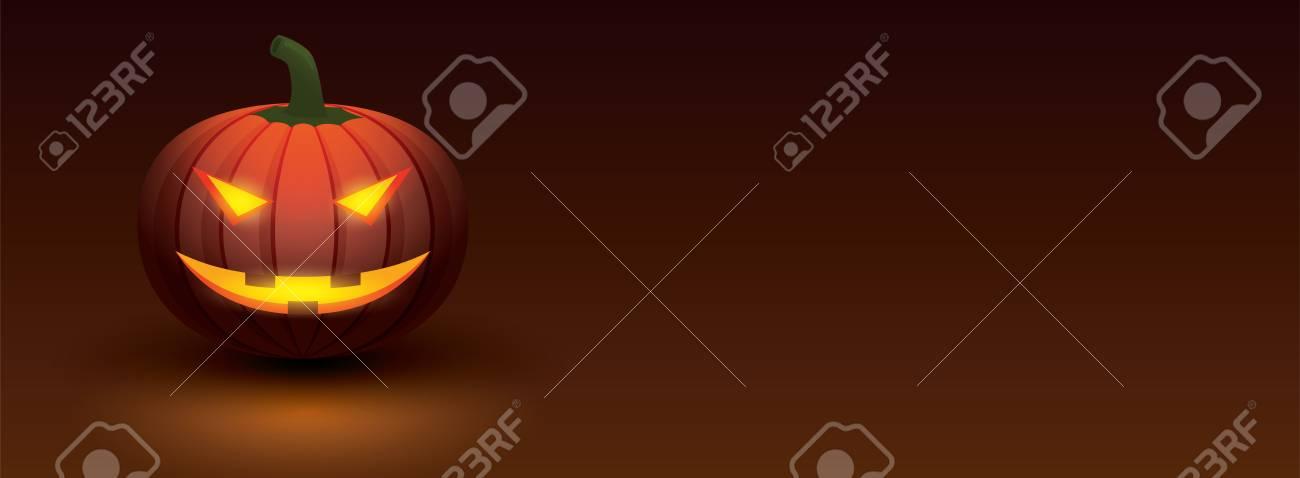Halloween Creative Ads.Halloween Pumpkin With Light Glowing In Smiling Face On Dark