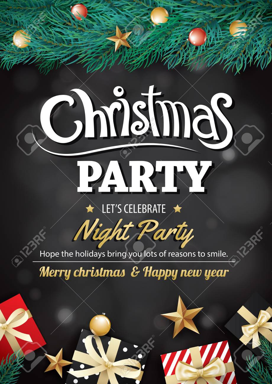 Merry Christmas Party Gift Box And Tree On Black Background Invitation