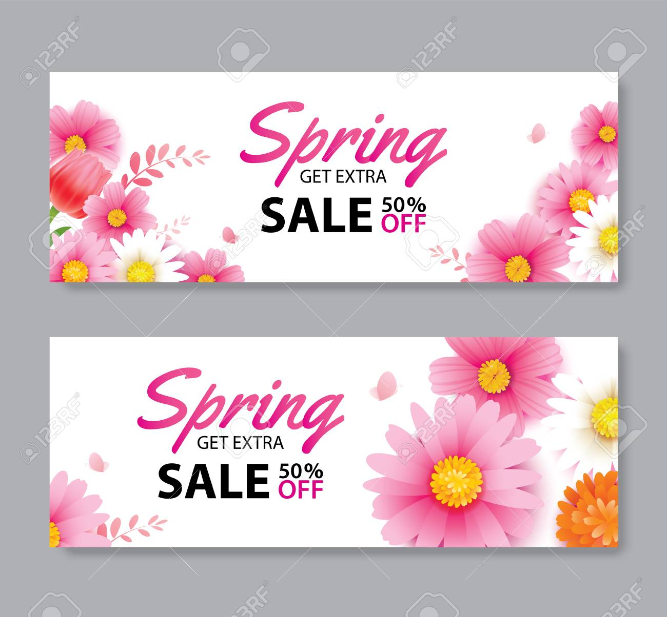 Spring sale voucher banner with blooming flowers background template. Design for advertising, flyers, posters, brochure, invitation, cover discount. - 124814856
