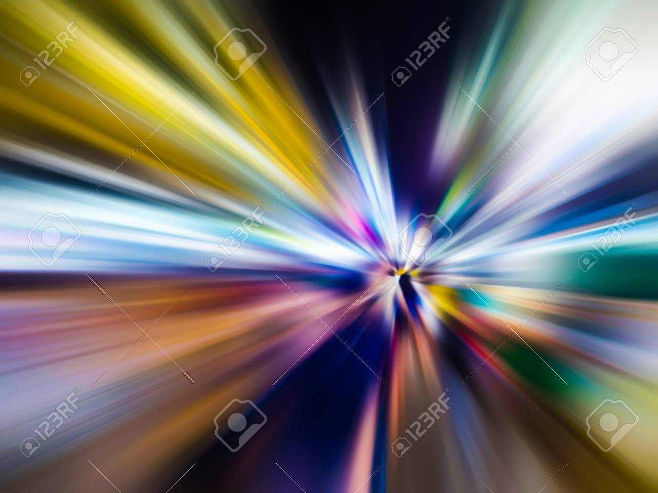 Abstract speed motion blur in city on night road and neon light. - 126122488