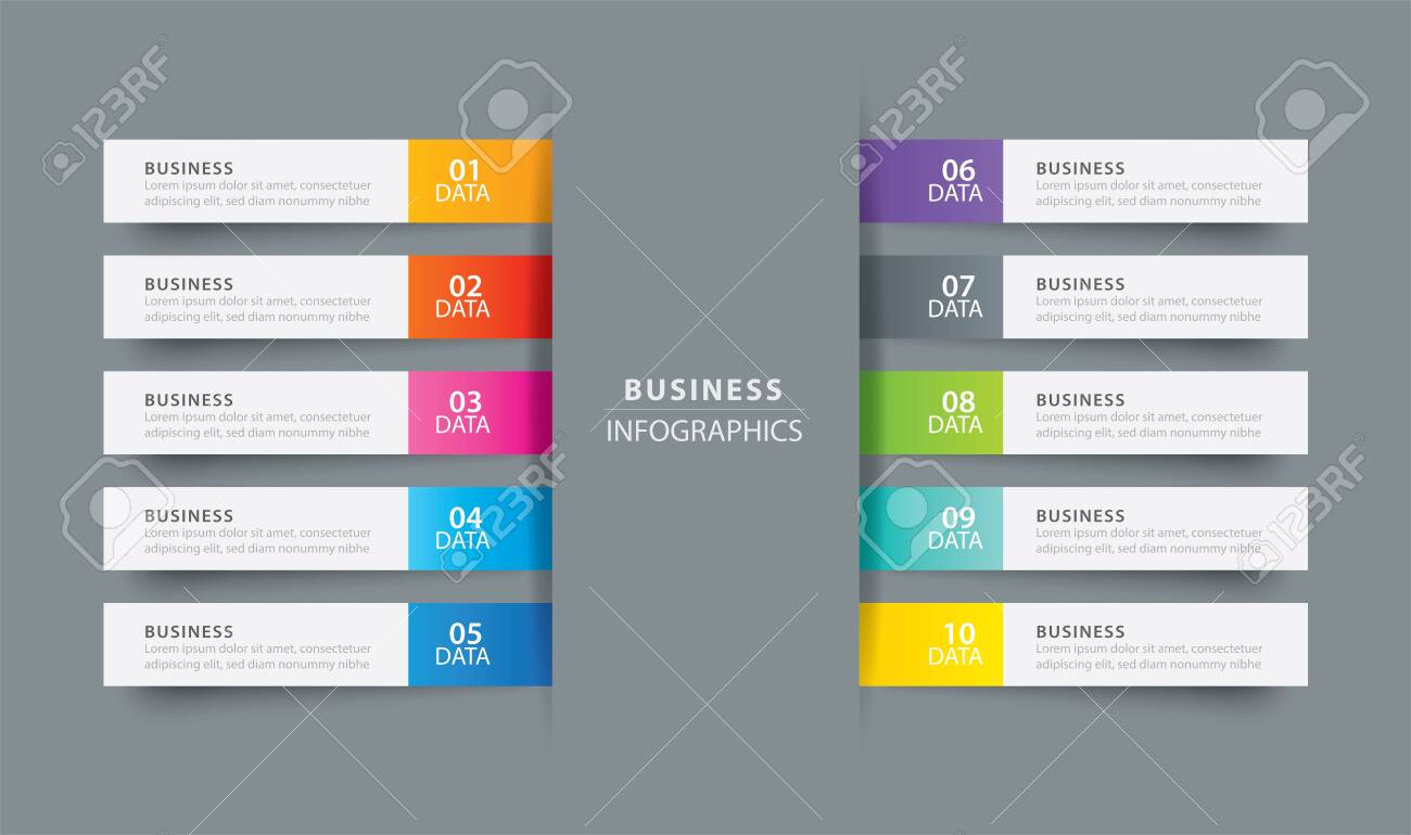 Infographics tab index in horizontal paper index with 15 data template.  Vector illustration abstract background. Can be used for workflow layout,  ...
