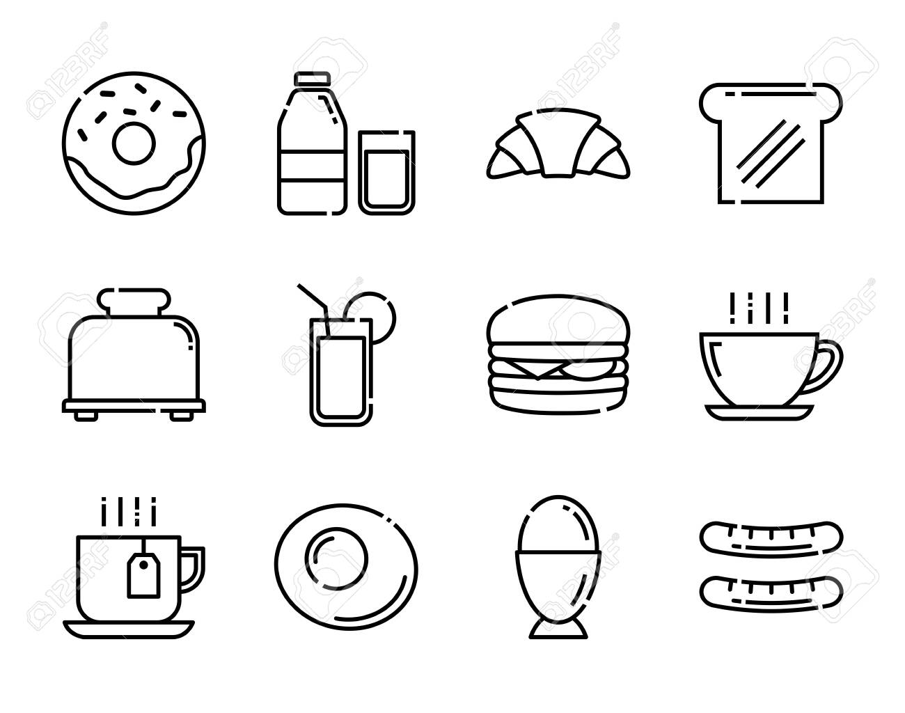 Breakfast icons set. Thin line style. - 151327401