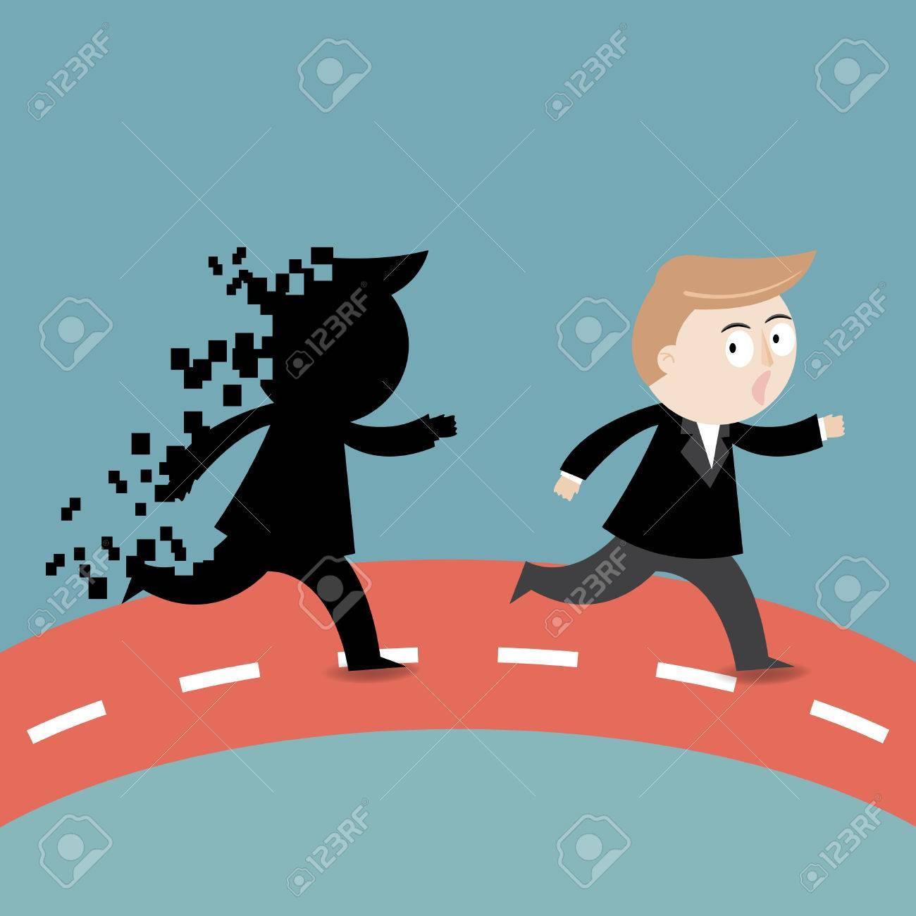 Businessman running away from shadow fail Stock Vector - 27169035