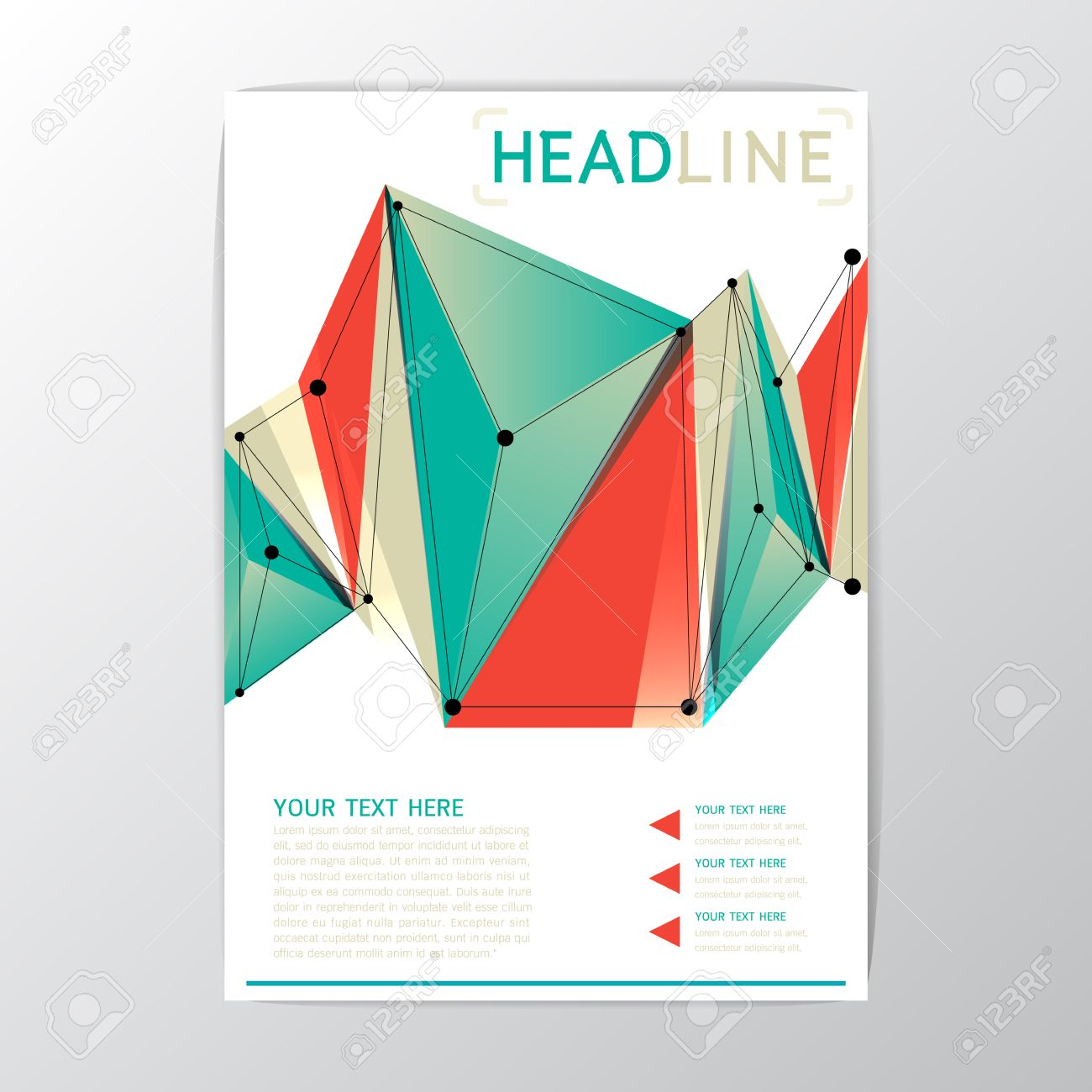 A4-Format, Kreative Zusammenfassung Hintergrund Polygon-Design ...