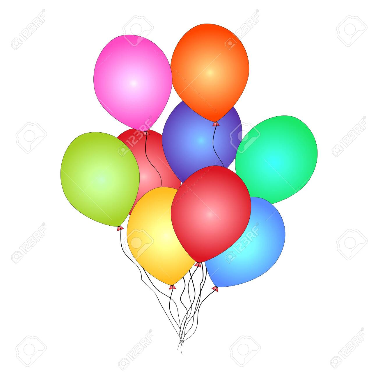 Bunch of helium balloon isolated on white background. Festive colored balloons for happy birthday, anniversary holiday invitation. Party decoration, Valentines day and celebrations event design. Stock vector illustration - 142052335