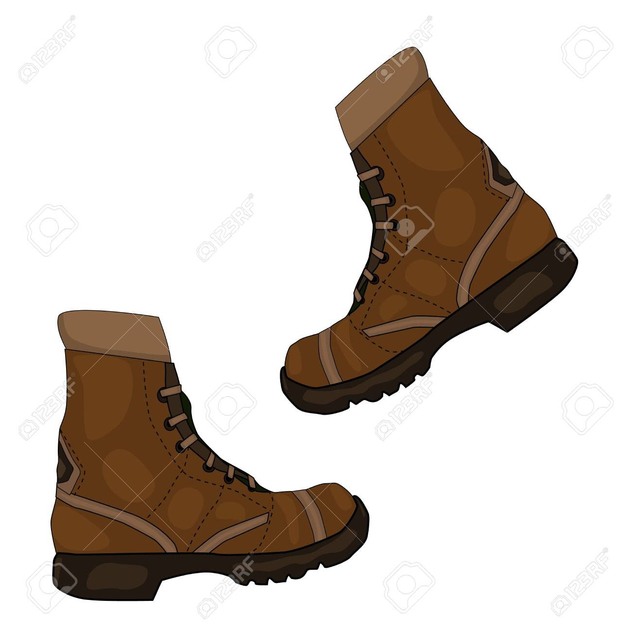 Pair of brown leather shoes isolated on white background. Camping work boots from brown leather, casual walk footwear shoe pair. Hiking boots design element. Khaki boot icon. Stock vector illustration - 146507429