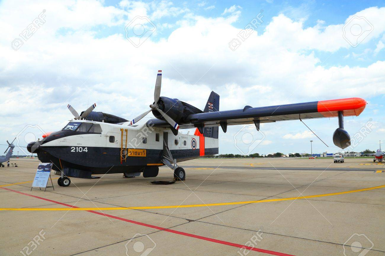BANGKOK, THAILAND - JUNE 29:The Canadair CL-215 of Royal Thai air force was showed in Cerebration of 100 year of Royal Thai air force (RTAF) at Don Muang airport on June 29,2012 in Bangkok, Thailand Stock Photo - 14335546