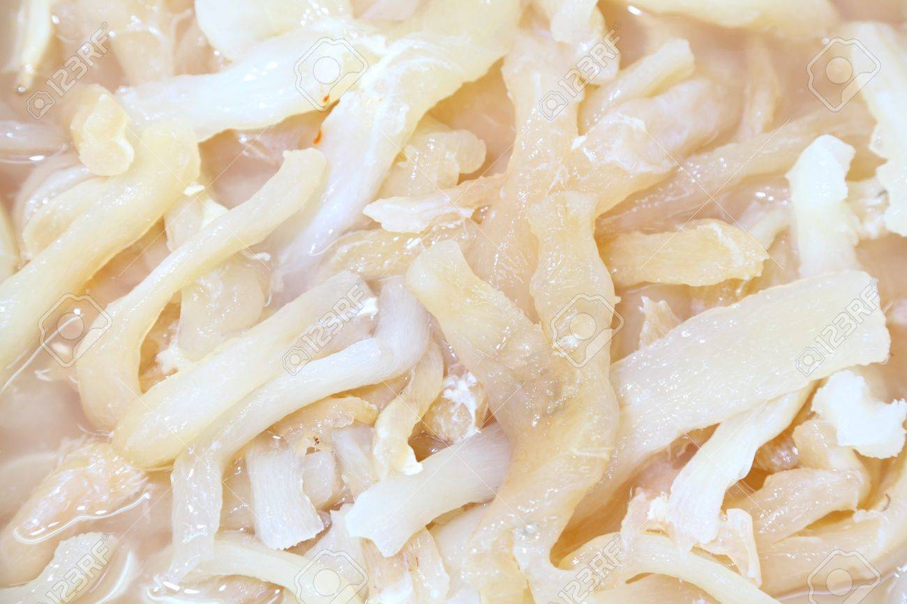 Pig s tendon boiled and ready for make another food ingredient in Thailand street market - 15623128