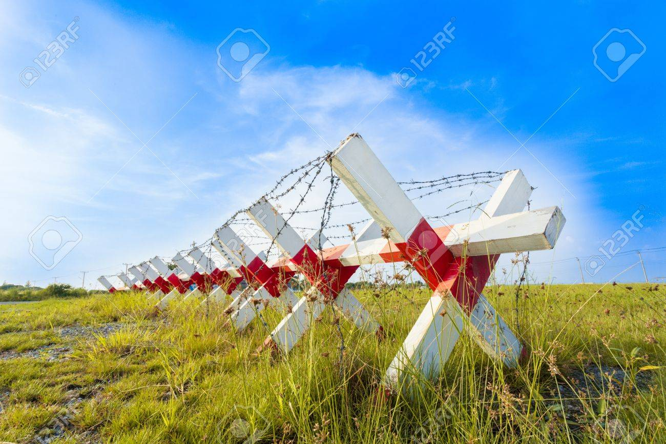 Barbed wire fence for background and abstract - 16301377