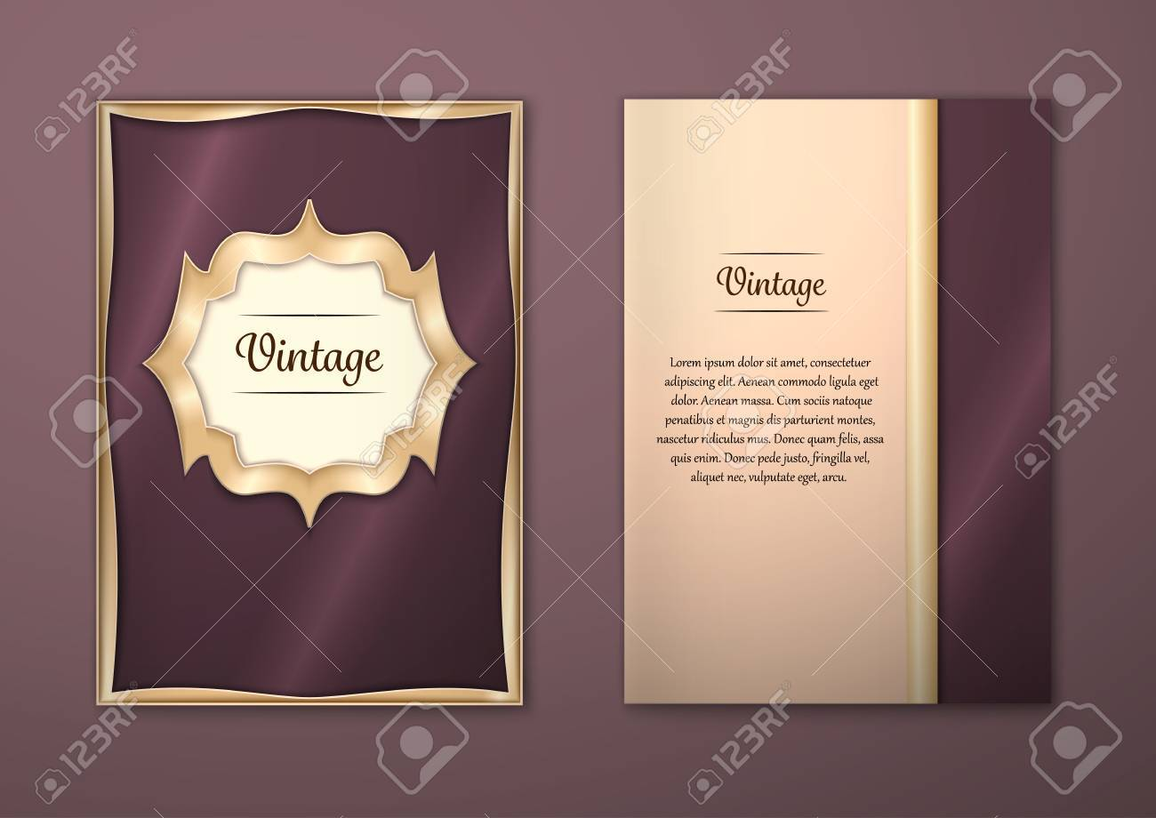 Vector Brochure Flyer royal design Layout template, size A5. Gold frame. Front page and back page. Easy to use and edit. - 54847563
