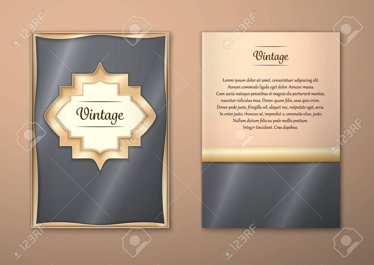 Vector Brochure Flyer royal design Layout template, size A5. Gold frame. Front page and back page. Easy to use and edit. - 54847973