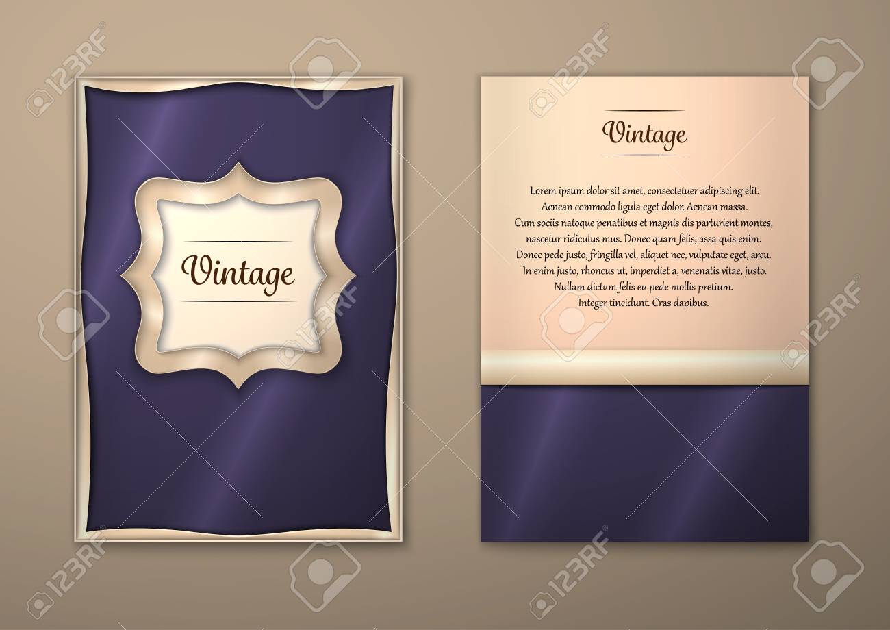 Vector Brochure Flyer royal design Layout template, size A5. Gold frame. Front page and back page. Easy to use and edit. - 55183912