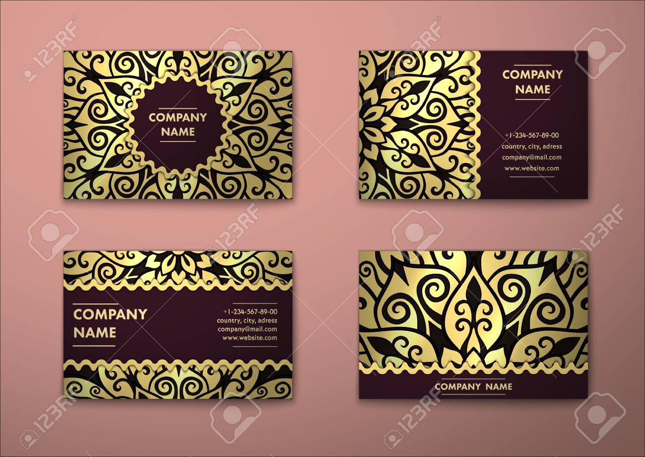 Vector vintage visiting card set floral mandala pattern and vector vector vintage visiting card set floral mandala pattern and ornaments oriental design layout islam arabic indian ottoman motifs reheart Image collections