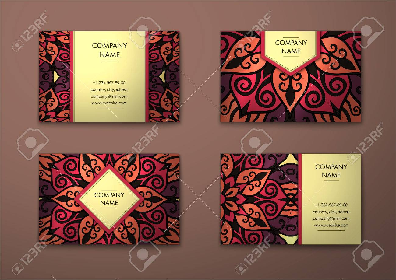 Vector vintage visiting card set. Floral mandala pattern and ornaments. Oriental design Layout. Islam, Arabic, Indian, ottoman motifs. Front page and back page. - 58126637