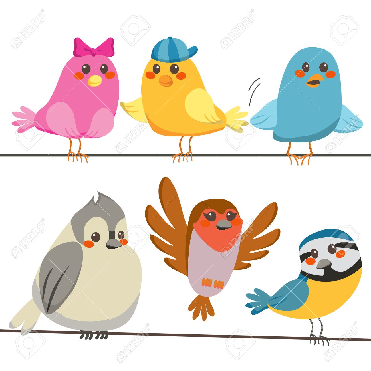 Six cute and colorful little birds perched on power wire lines Stock Vector - 8133384
