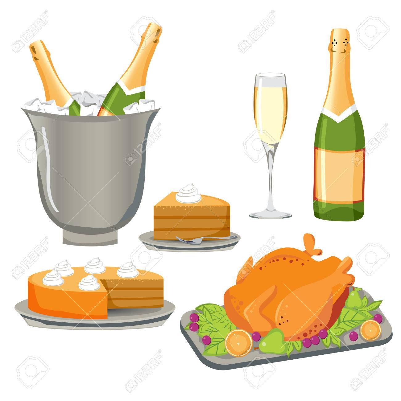 Set of delicious food and drink for celebration, party or any festive events Stock Vector - 8133396
