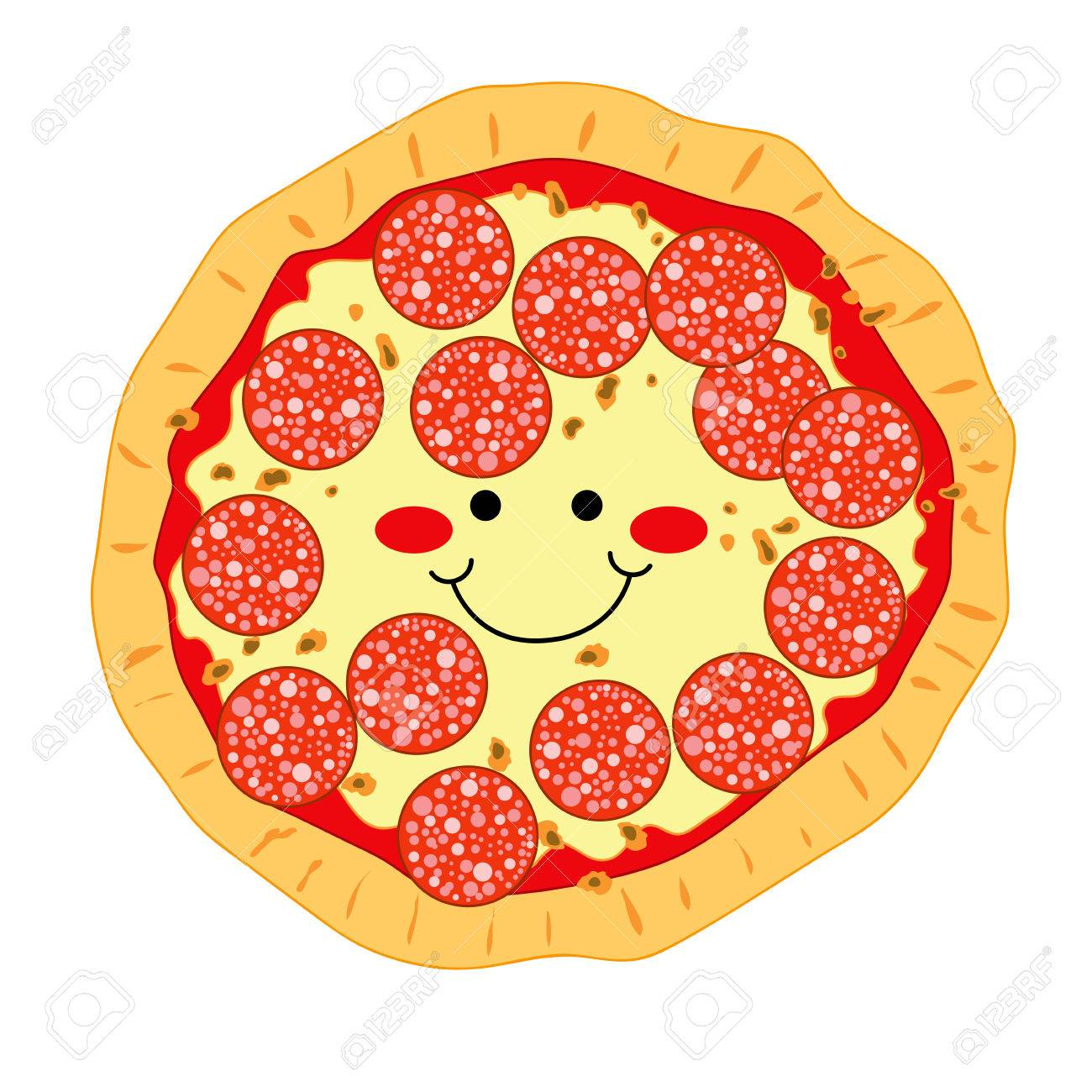 Cartoon Clipart: Smiling Slice Of Pepperoni Pizza With Halo And ...