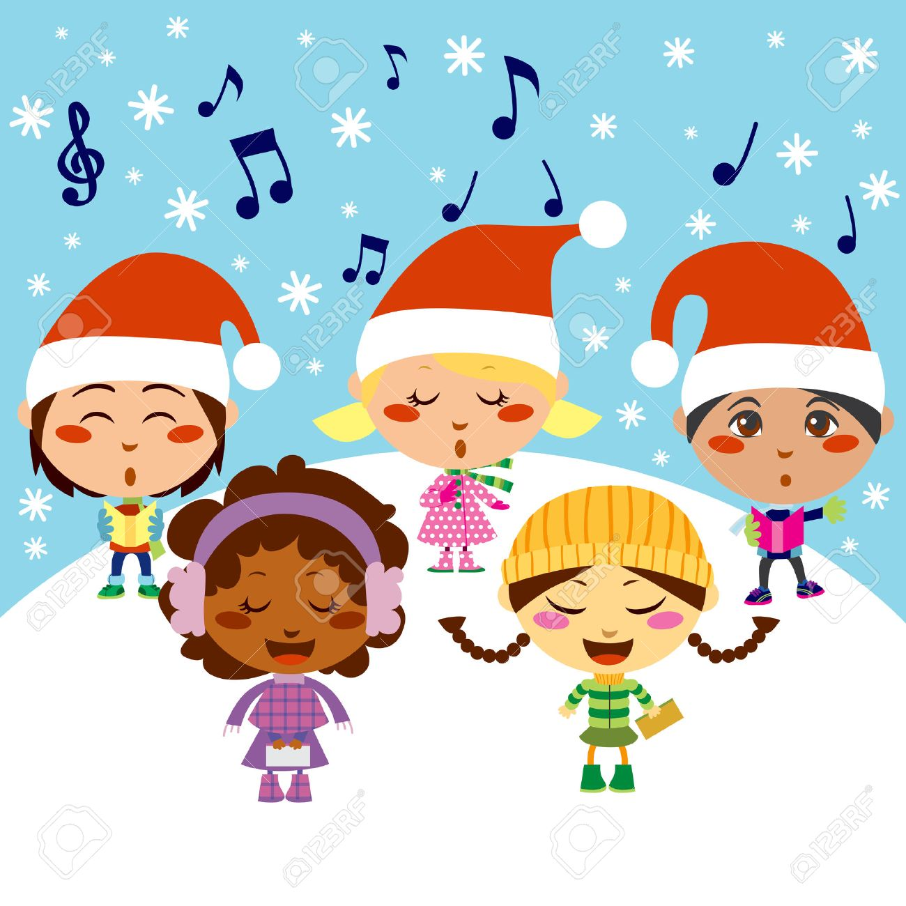 Five Kids Singing Christmas Carols While Snow Falls Royalty Free ...