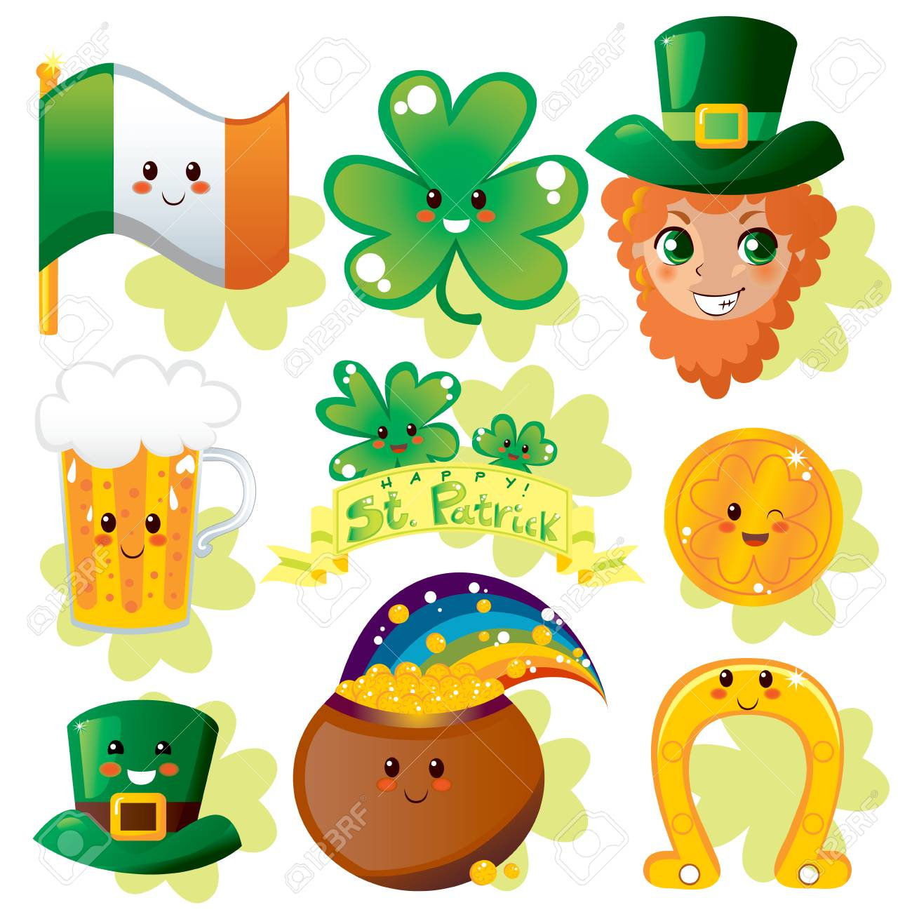 Collection set of miscellaneous Saint Patrick's day holiday elements Stock Vector - 8539265