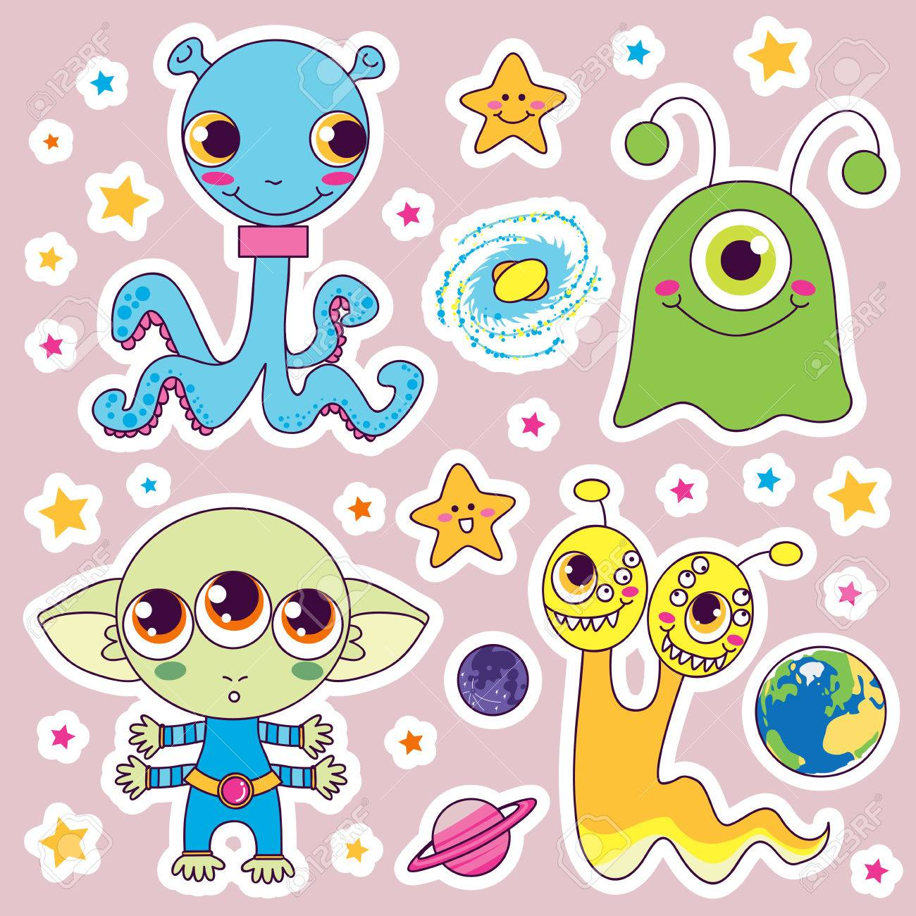 Four sweet cute child alien monsters with planets and happy stars Stock Vector - 8629819