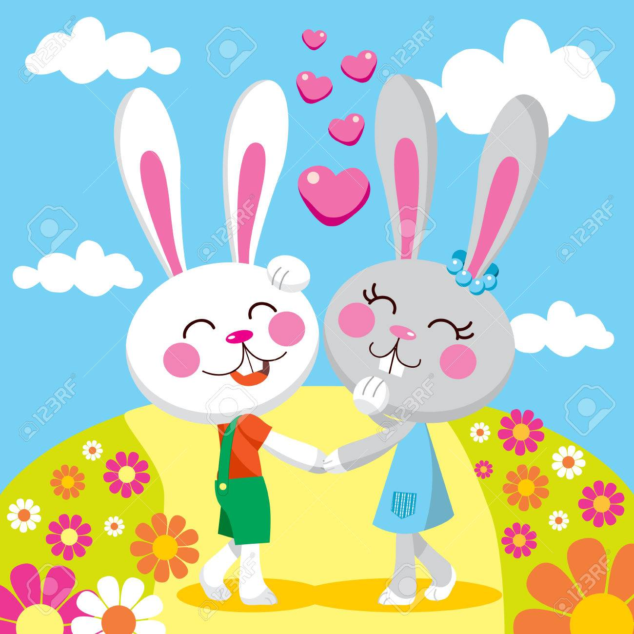 Sweet bunny couple holding hands on a date smiling and walking between flowers Stock Vector - 8629817