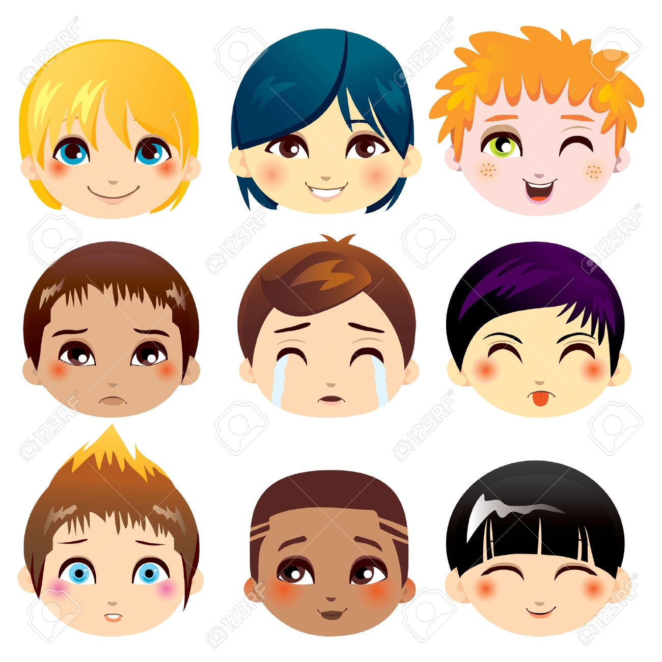 Set of nine facial expressions of little boys from various ethnic groups Stock Vector - 8977759