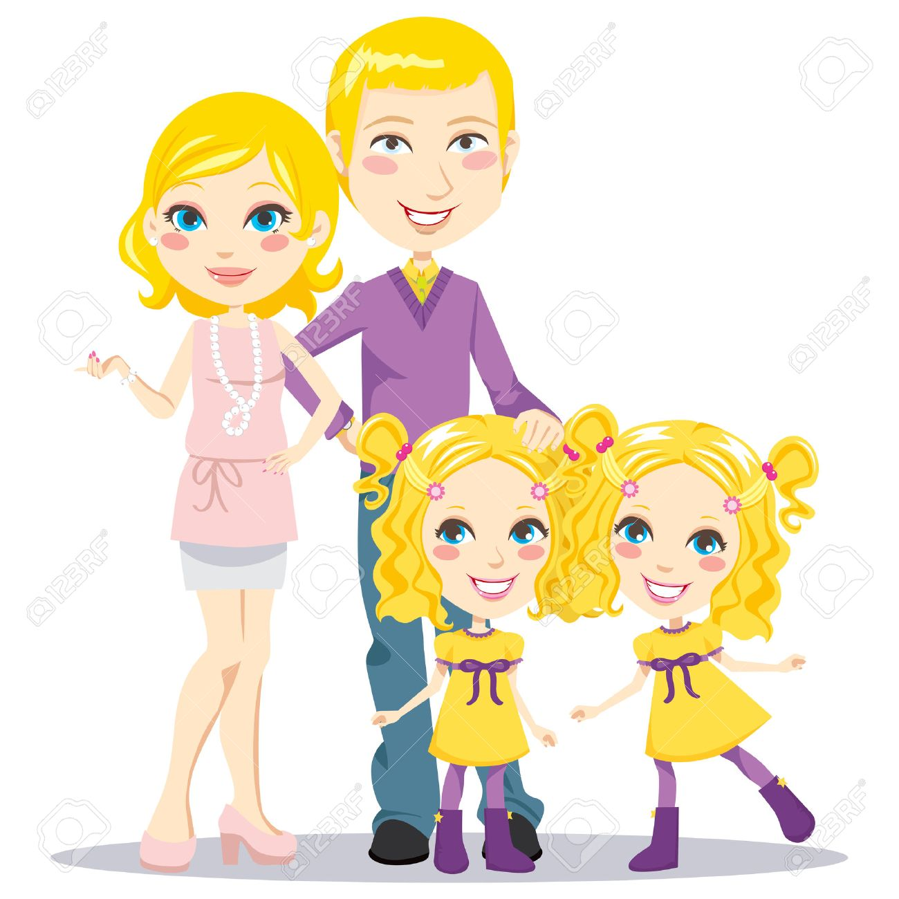 Blonde posh parents with twin daughters happily smiling together looking at front Stock Vector - 8977757