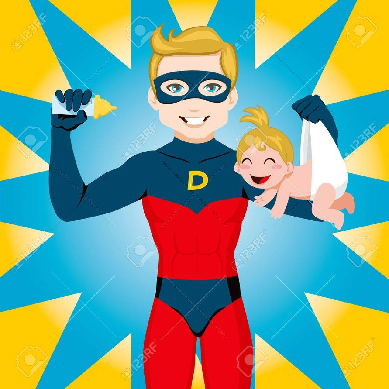 Superhero Dad feeding newborn baby girl Stock Vector - 9410699