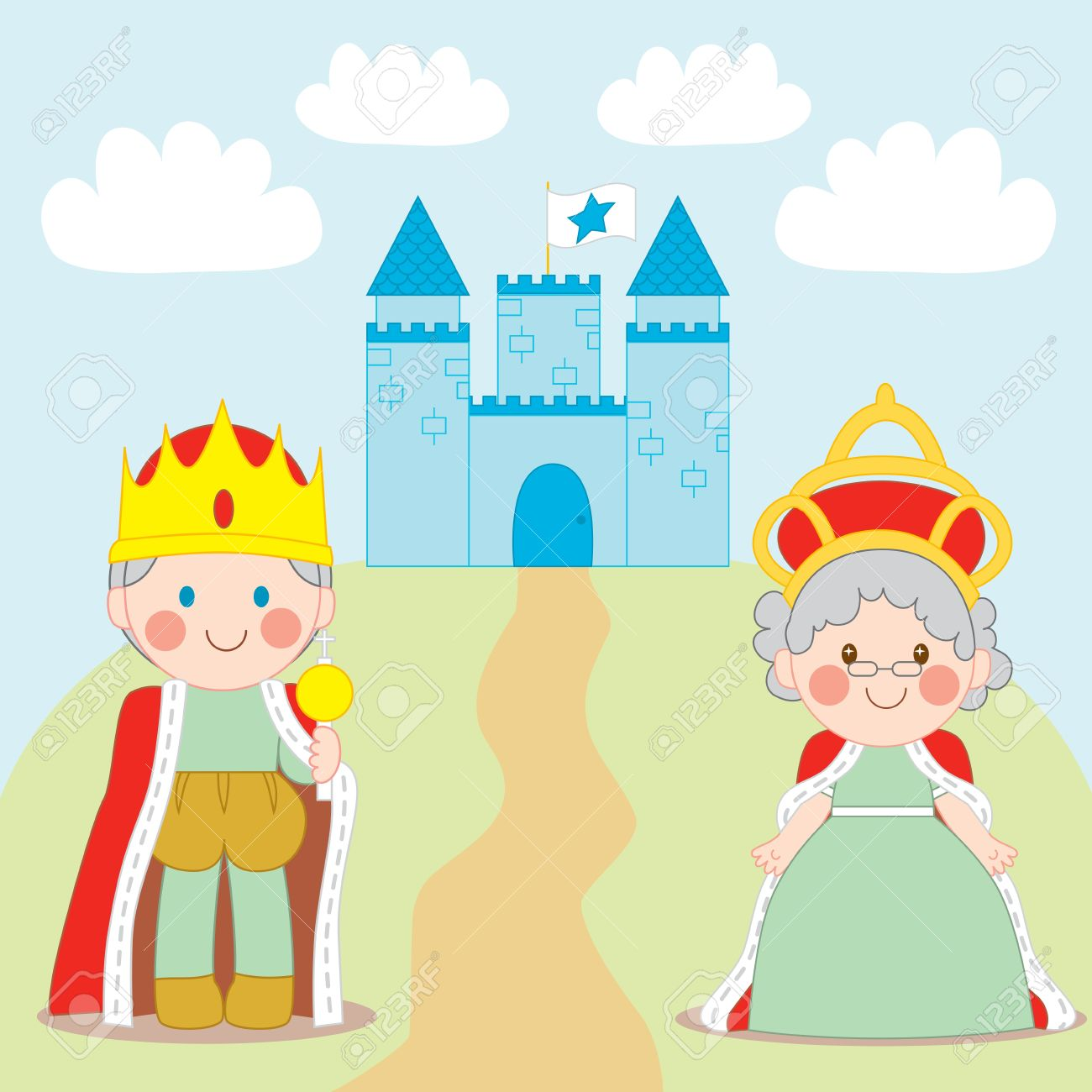 King and Queen standing outside blue castle with flag Stock Vector - 9457726
