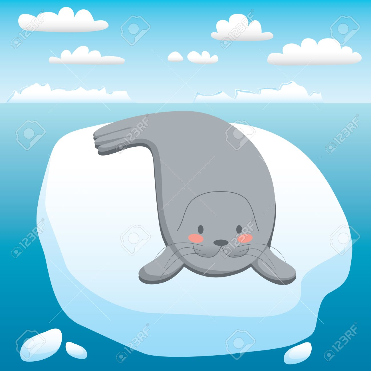 Cute seal happy resting on floating iceberg Stock Vector - 9457723