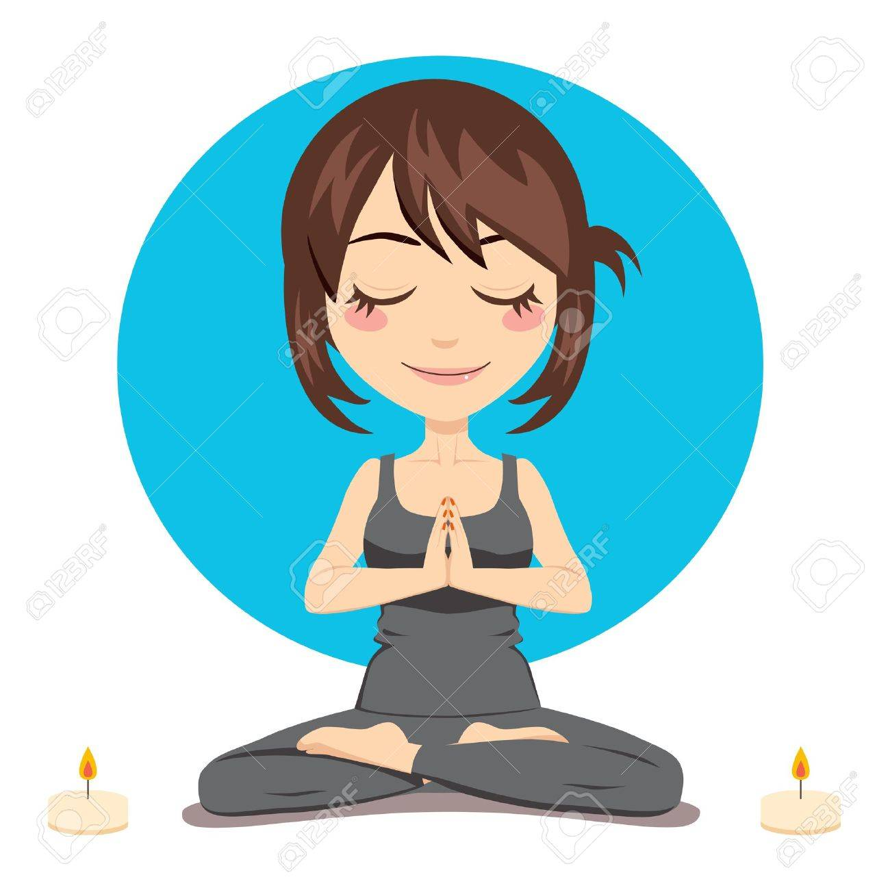Cute brunette woman doing yoga lotus position with two candles on side Stock Vector - 9457716