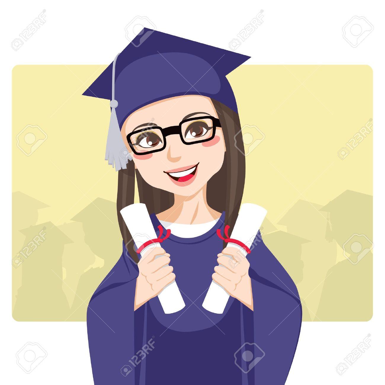 Joyful brunette with eyeglasses celebrating graduation day holding two diplomas on her hands smiling Stock Vector - 9572860