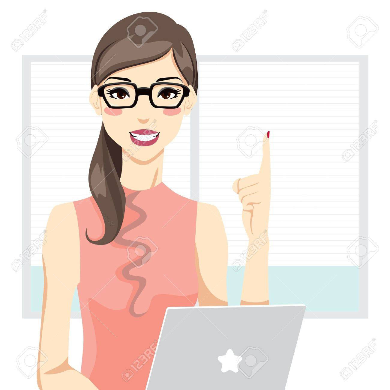 Office woman having an idea in front of laptop and pointing up with index finger Stock Vector - 9719405
