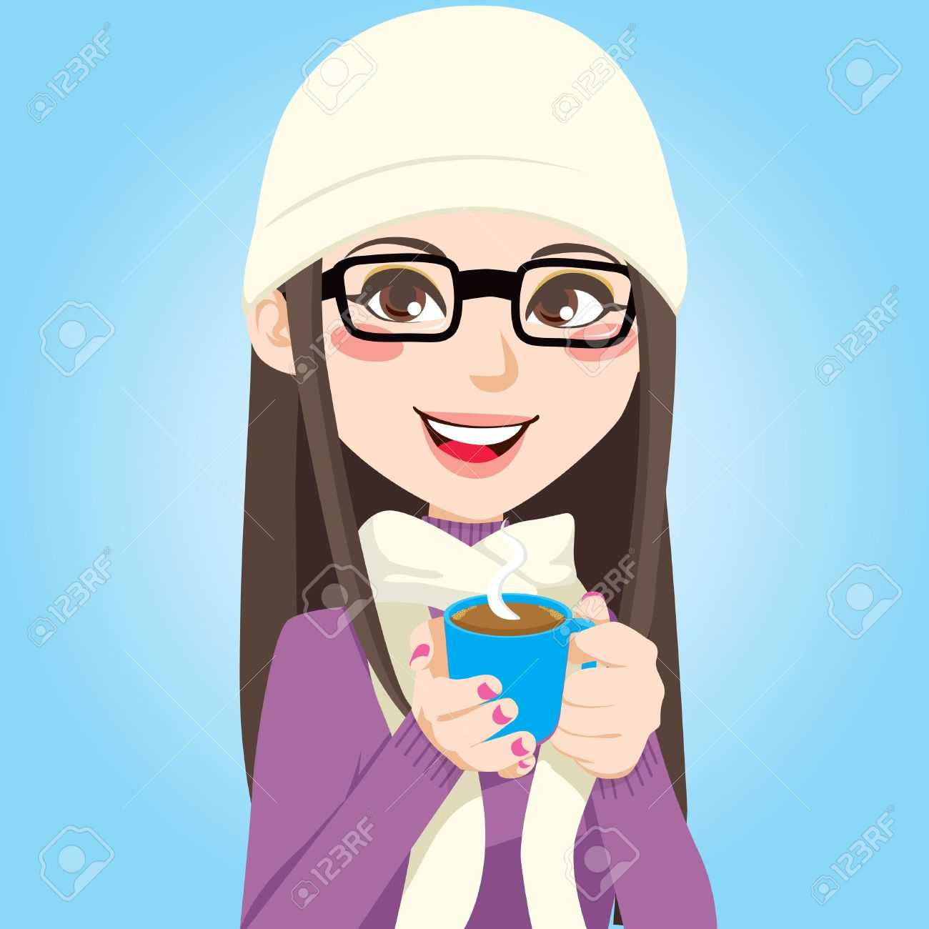Portrait of a beautiful brunette woman with glasses drinking a cup of sweet hot chocolate Stock Vector - 9827969