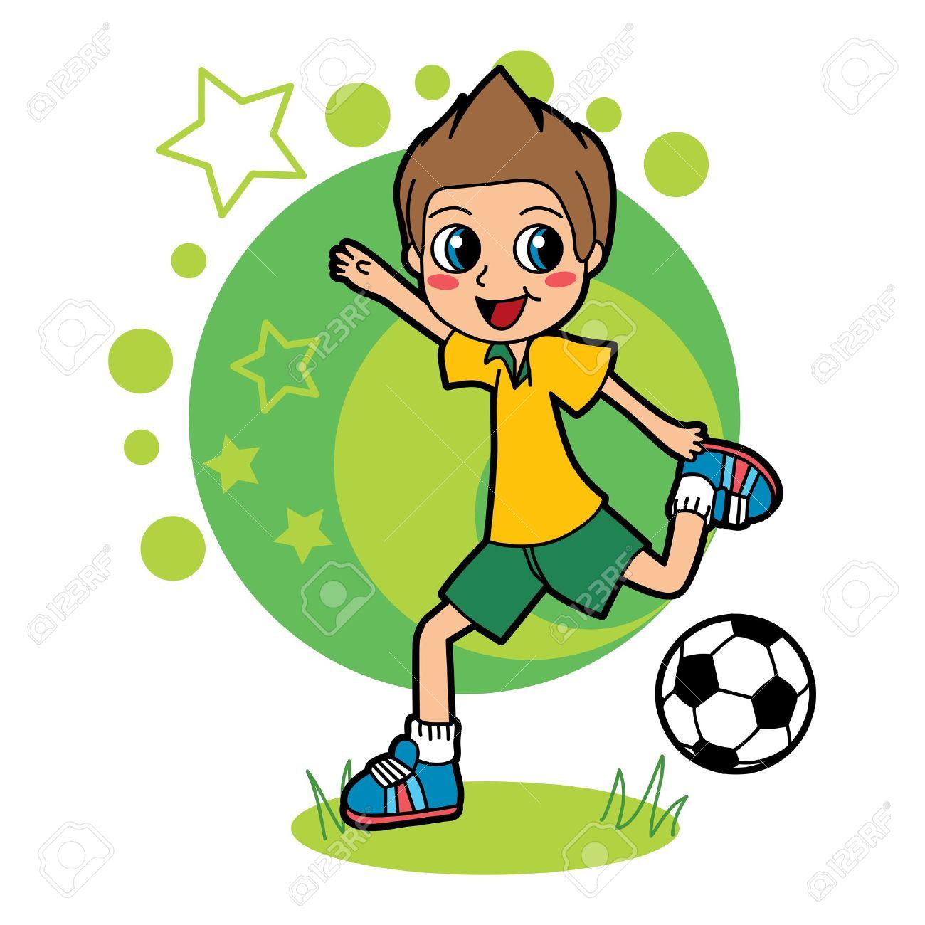 Nino Jugando Futbol Y Pelota Coleando Feliz Ilustraciones