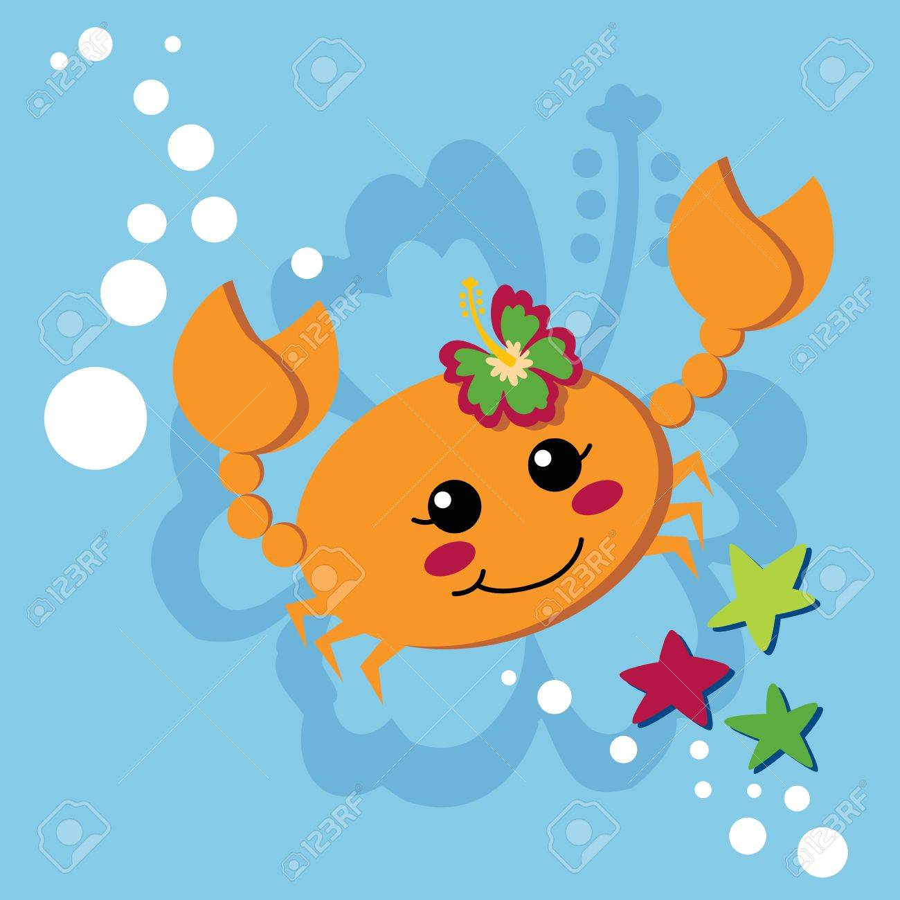 Cute orange female crab with hibiscus flower on her head waving pincers and smiling Stock Vector - 10413237