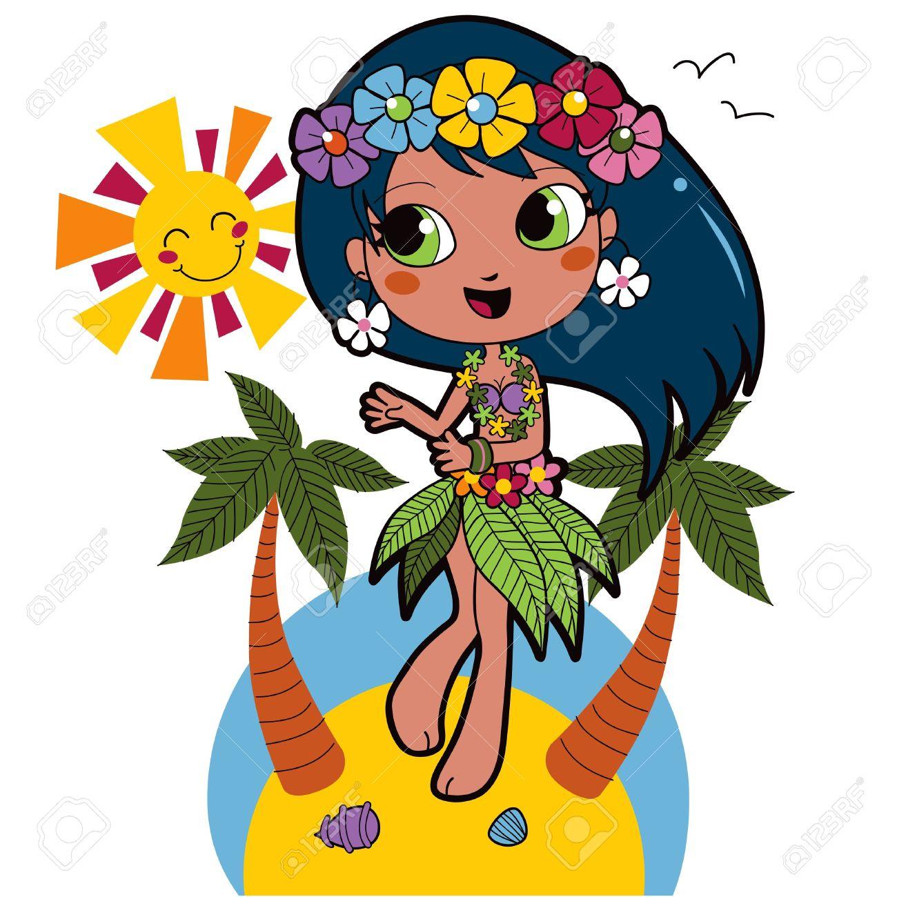 Cute hawaiian girl happy dancing on the beach with flower garland cute hawaiian girl happy dancing on the beach with flower garland on her hair stock vector izmirmasajfo