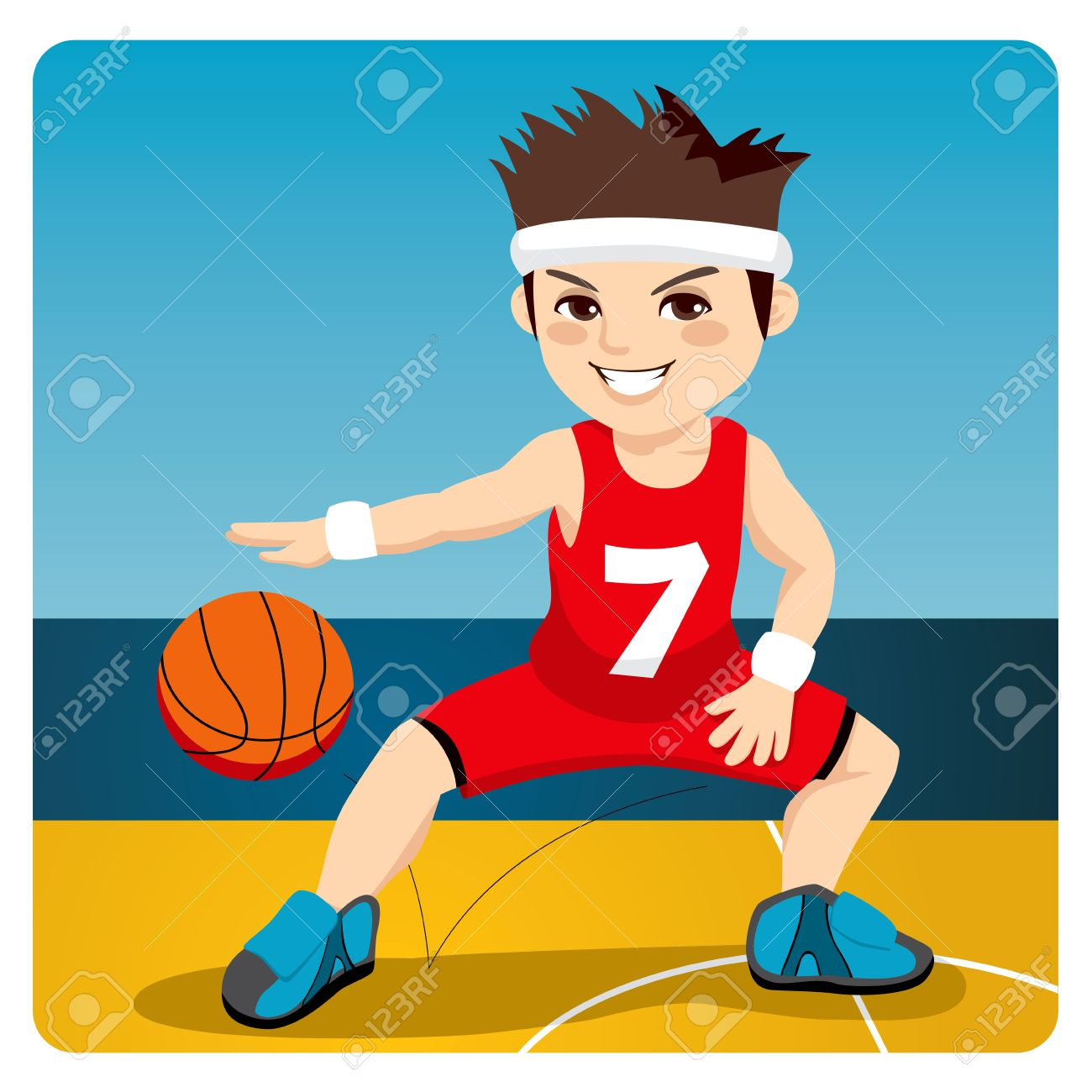 Young Active Male Basketball Player Dribbling And Bouncing The ...