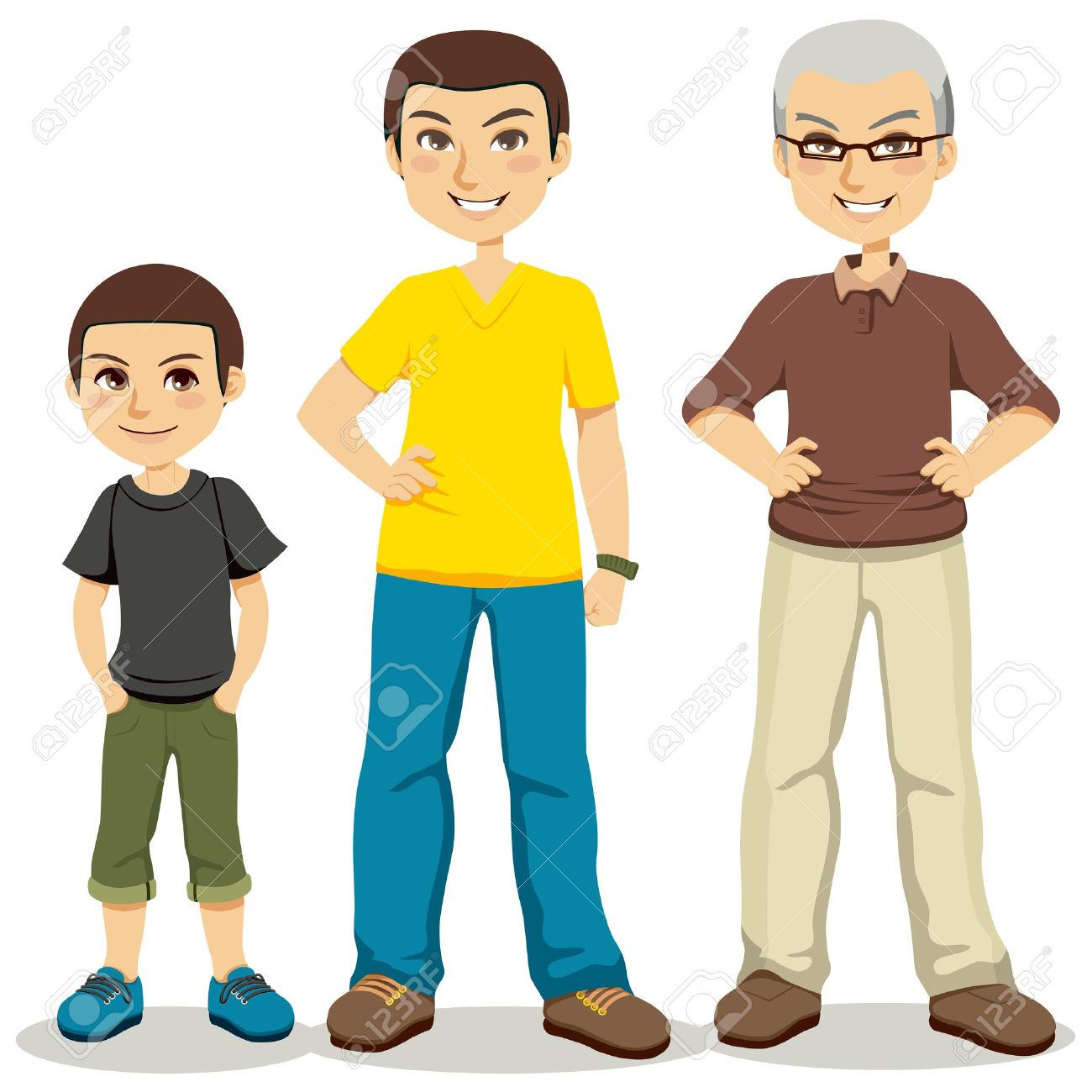 Illustration of three ages of men from child to senior Stock Vector - 10870275