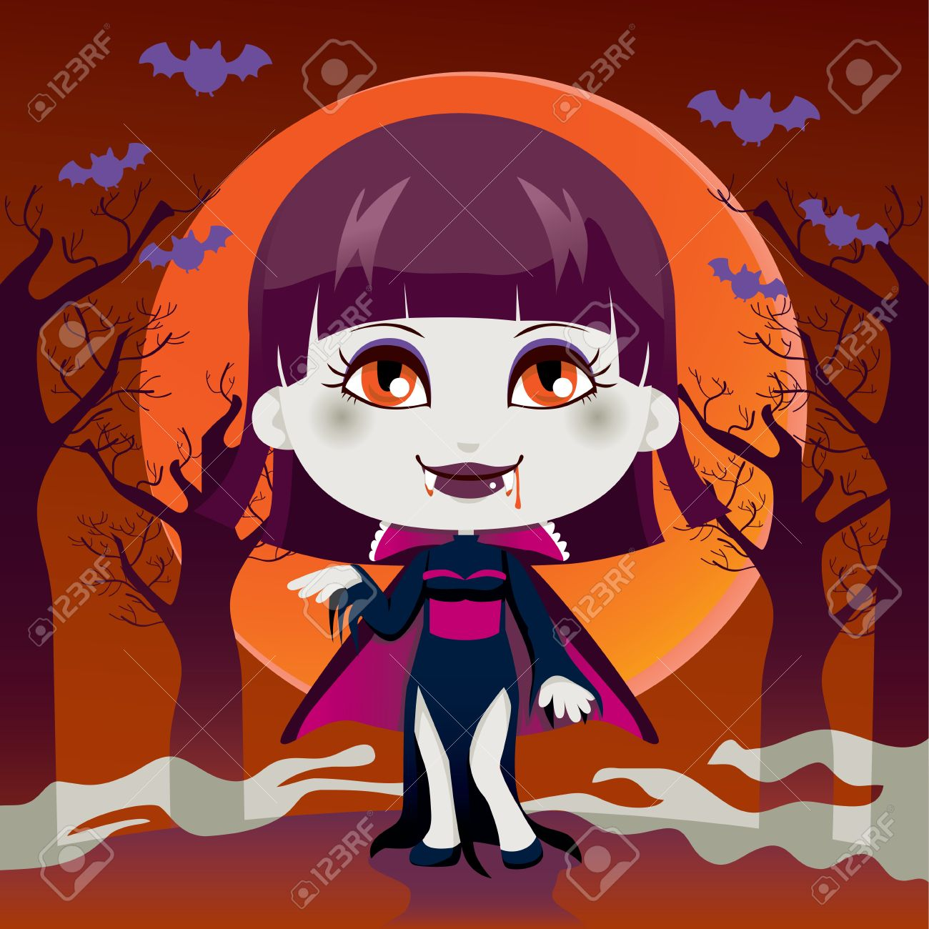 cute little girl with lady dracula vampire costume for halloween night party stock vector 10870280 - Halloween Night Party