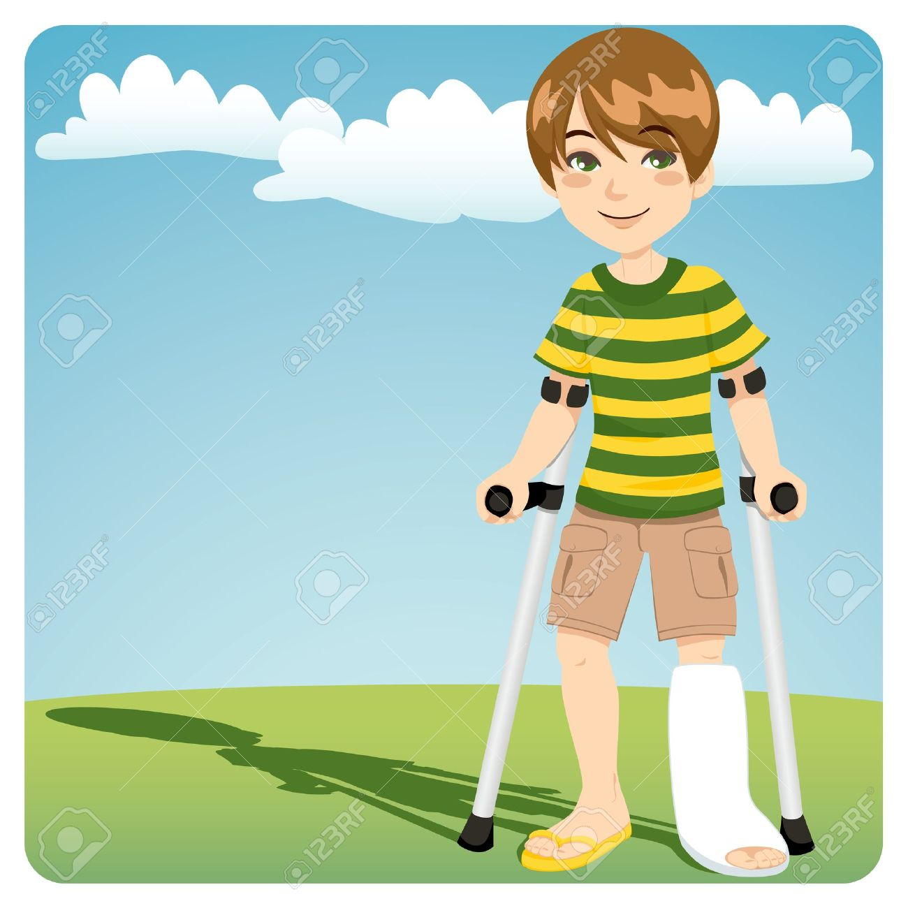 Young boy with cast broken ankle walking outdoors with crutches Stock Vector - 11012352