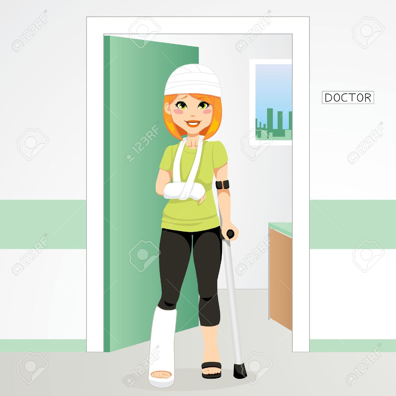 Injured redhair woman having head bandage, broken ankle and wrist cast walking with crutch Stock Vector - 11272584