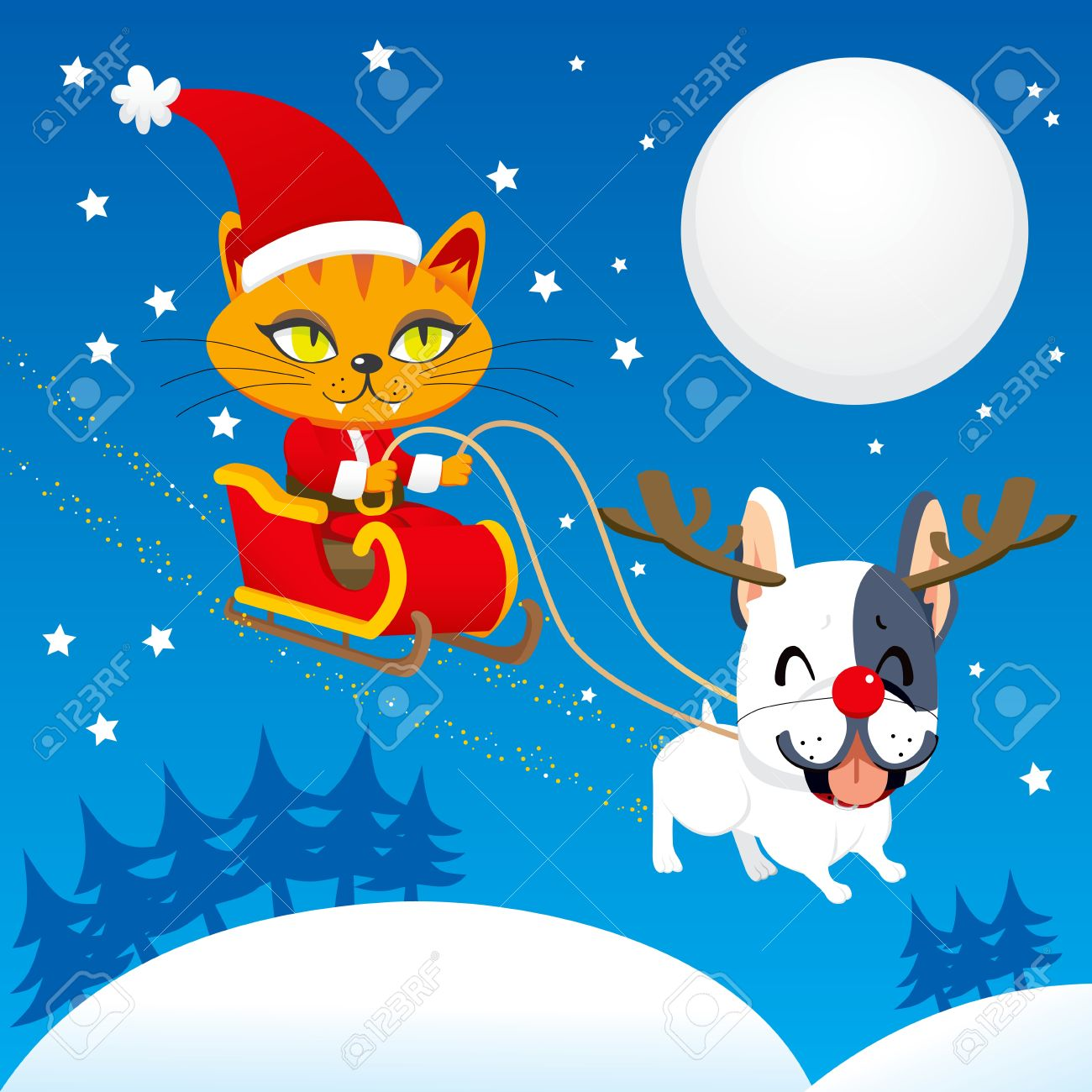 Santa Claus cat riding his magical flying sleigh with Rudolph the red nosed french bulldog reindeer Stock Vector - 11272591