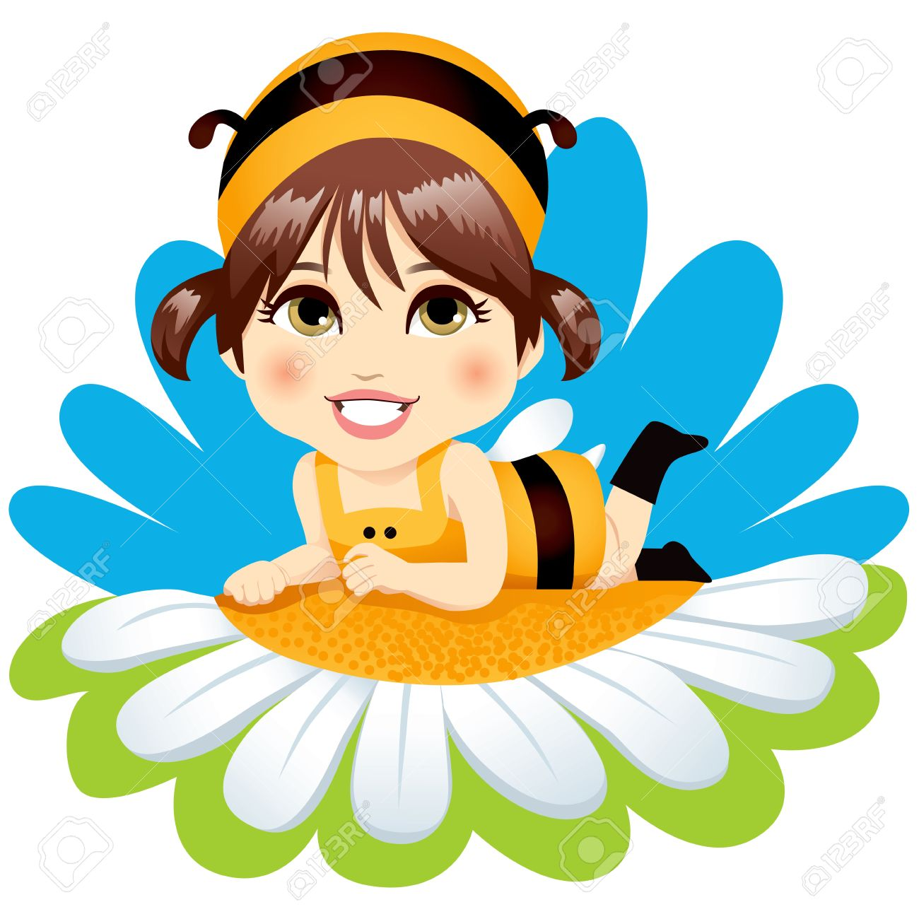 Cute little baby girl with bee costume resting lying down on top of a white daisy  sc 1 st  123RF.com & Cute Little Baby Girl With Bee Costume Resting Lying Down On ...