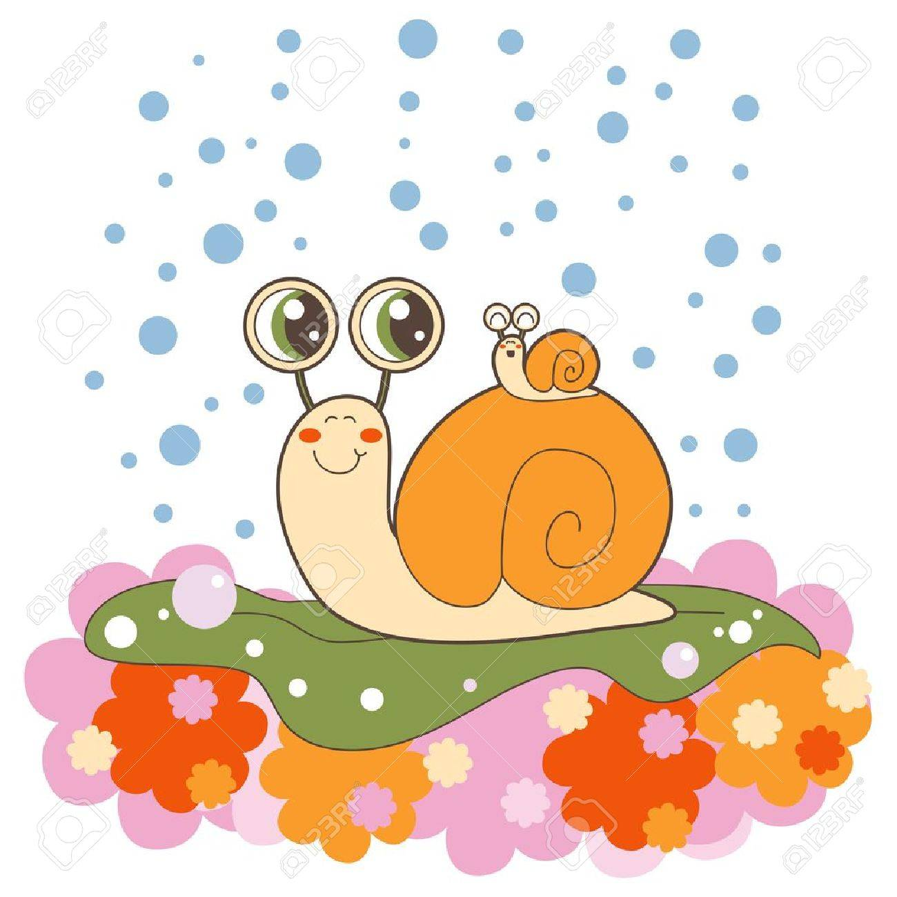 Lovely snail family outdoors crawling on a lettuce leaf in the rain Stock Vector - 11974535