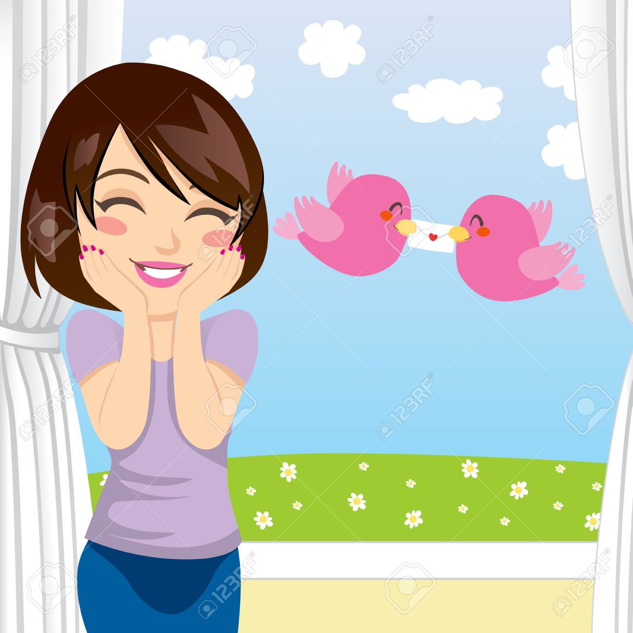 Beautiful woman gets happy surprise when two birds give her a love letter through an open window Stock Vector - 12357412
