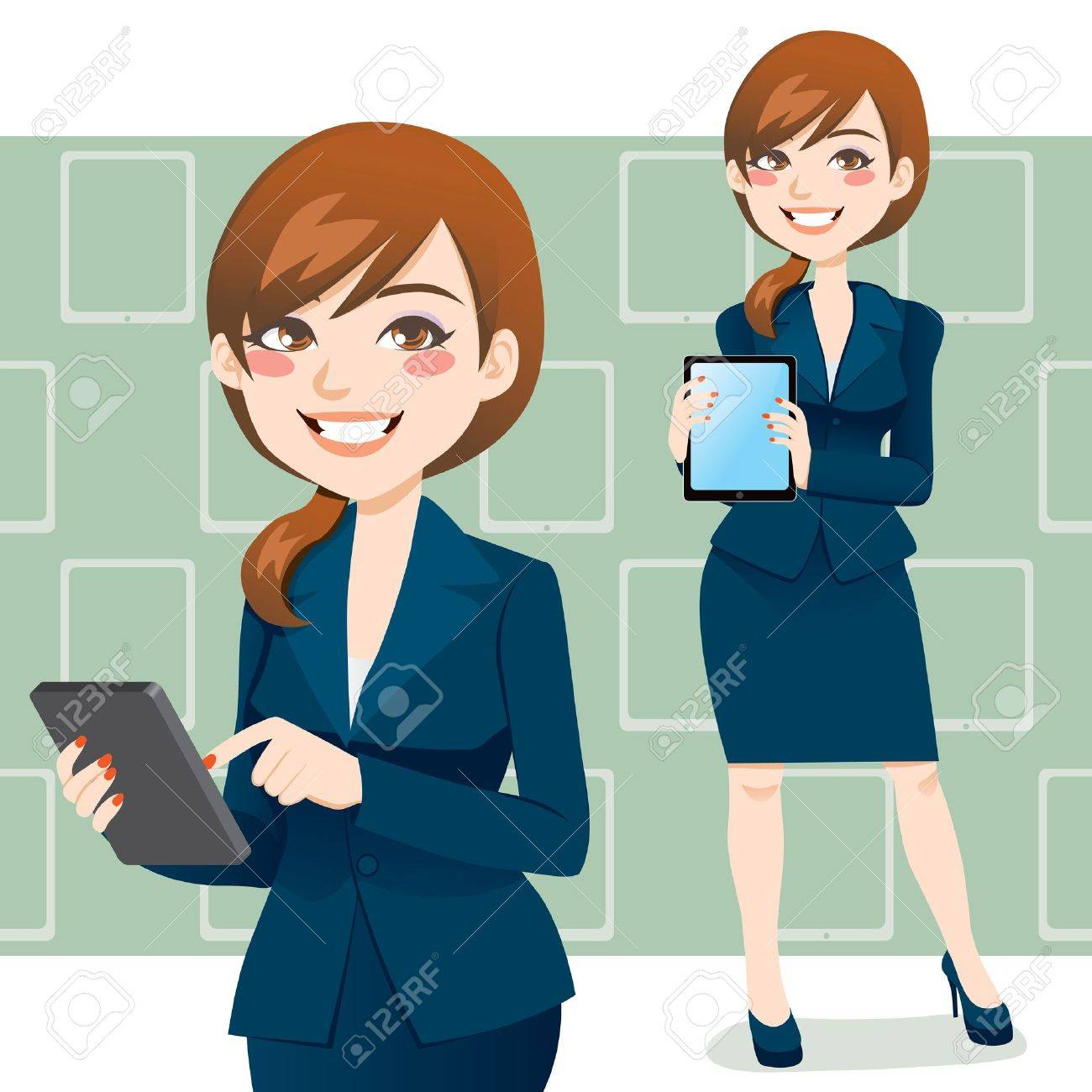 Beautiful brunette business woman using a touch pad tablet portable computer Stock Vector - 12776657