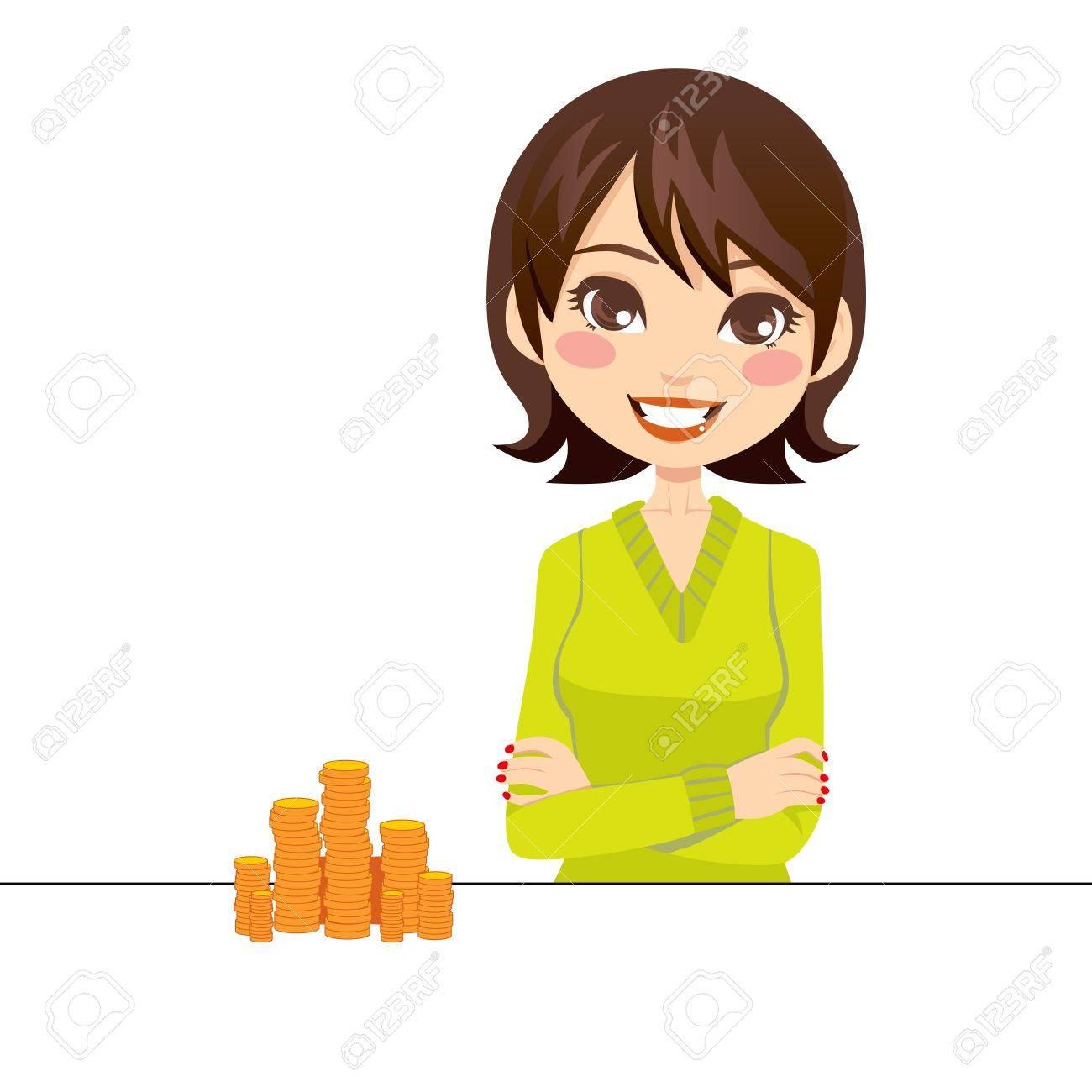 Woman smiling with arms crossed beside a pile of gold coins Stock Vector - 13041909