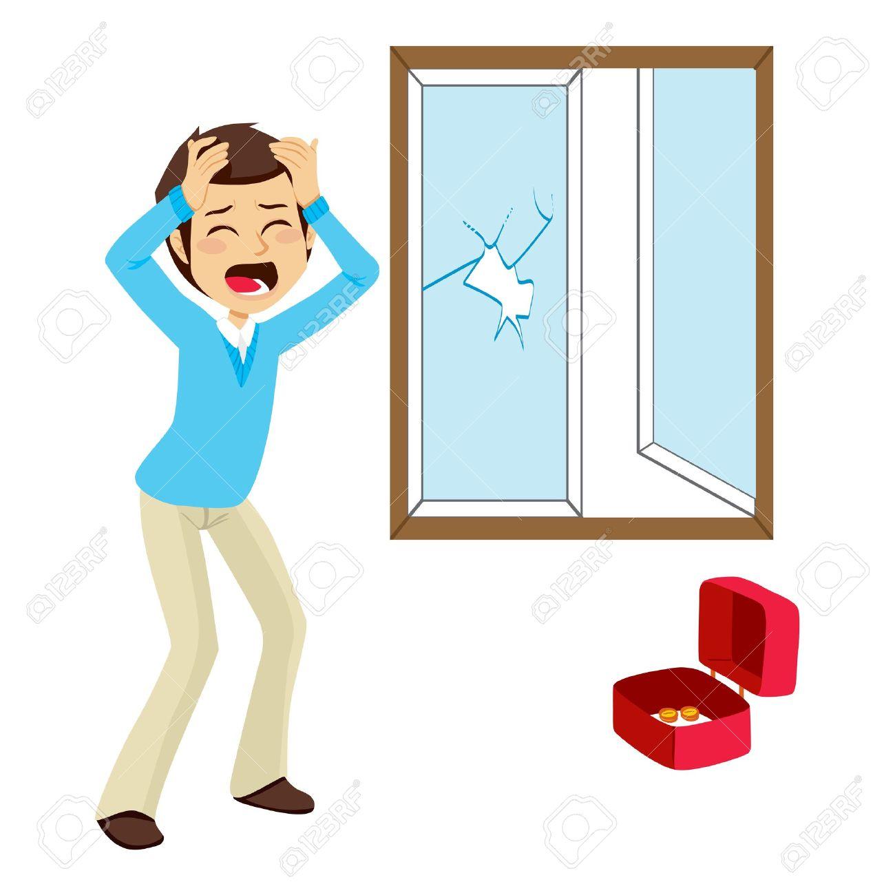 Desperate burglary victim finds broken window and empty money box after robbery Stock Vector - 13080767